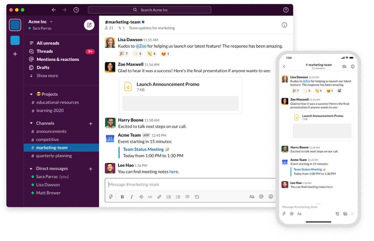 Slack permite la comunicación individual o por grupos